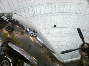 INJUSTICE: A visit to the Smithsonian Air & Space Museum near Dulles Airpot, brought the perfect photo.  The Enola Gay--a Boeing B-29 Superfortress Bomber--best known as the plane that dropped the atomic bomb on Hiroshima.  The photo could mean justice for ending a horrible war or also injustice for the loss of innocent lives.  Either way you look at it, it provided me a few moments for pause and reflection of that historical day.