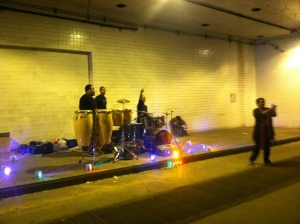 Two bands set up shop through the 9th Street tunnel that we hit at both the start and end of the race.