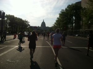Running towards Mile 12 and getting close to the homestretch!