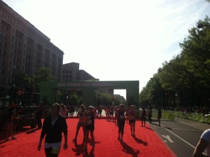 After crossing the finish line at 1:52:53 I admired the red carpet!  They went all out for us today.